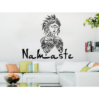 Namaste Flower Mandala Indian Lotus Yoga Wall Decals Sticker Decal size 33x39 Color Black