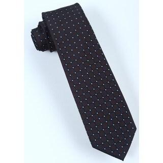 Brio Men's Black/Brown Microfiber Patterned Tie