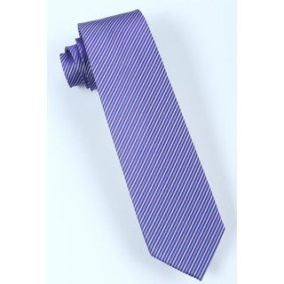 Brio Men's Stripe Purple/Blue/White Microfiber Tie