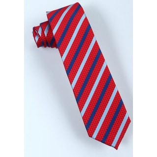 Brio Men's Red/Navy/White Stripe Microfiber Tie