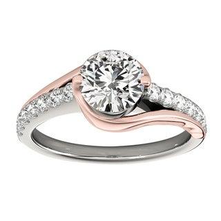 Transcendent Brilliance 14K White Gold 1 1/10ct TDW Diamond Curved Engagement Ring