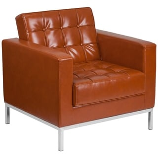 HERCULES Lacey Series Contemporary Leather Chair with Stainless Steel Frame
