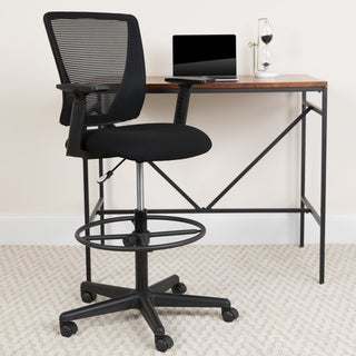 Mid-Back Mesh Drafting Chair w/ Black Fabric Seat, Adjustable Foot Ring and Arms