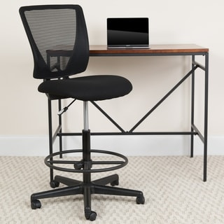 Mid-Back Mesh Drafting Chair with Black Fabric Seat and Adjustable Foot Ring
