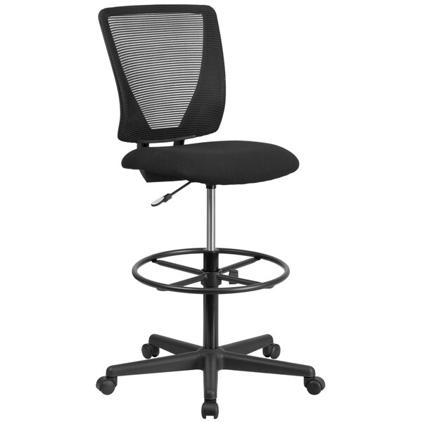 Ergonomic Mid Back Mesh Drafting Chair With Fabric Seat And Adjustable Foot  Ring