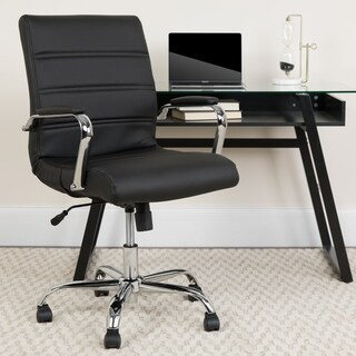 Mid-Back Bonded Leather Executive Swivel Chair with Chrome Base and Arms