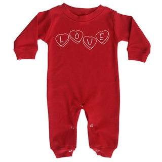 Rocket Bug Valentine's Day Red Long Sleeve Baby Jumpsuit Romper