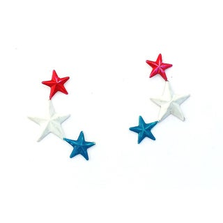 Handmade Red White and Blue Stars Stud Earrings