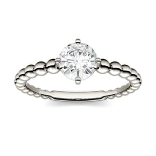 Charles & Colvard 14k White Gold 0.80 TGW Forever Brilliant Moissanite Beaded Solitaire Ring