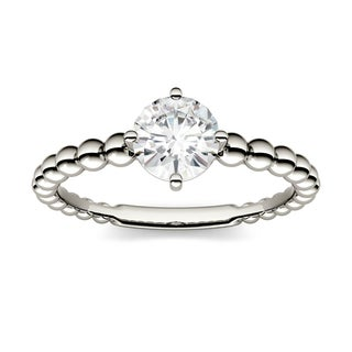 Charles & Colvard 14k White Gold 0.80 TGW Forever Brilliant Moissanite Beaded Solitaire Ring