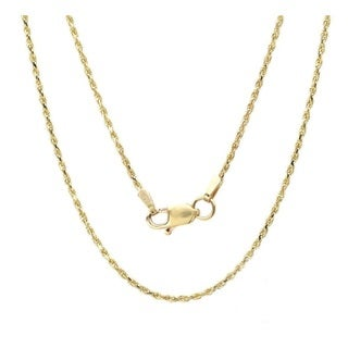 14k Yellow Gold Thin High Polished Rope Chain