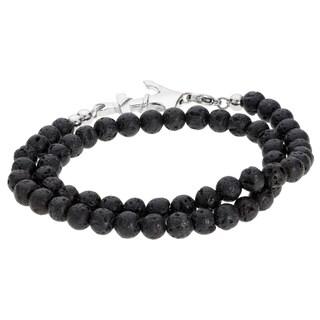 Men's Stainless Steel Lava Beads Wrap Bracelet