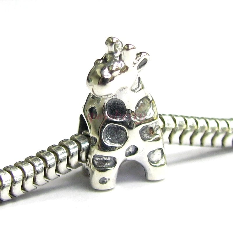 Queenberry Sterling Silver Cute Giraffe Animal European B...