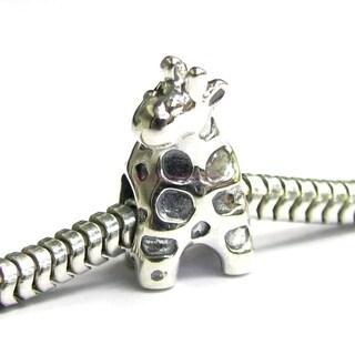 Queenberry Sterling Silver Cute Giraffe Animal European Bead Charm