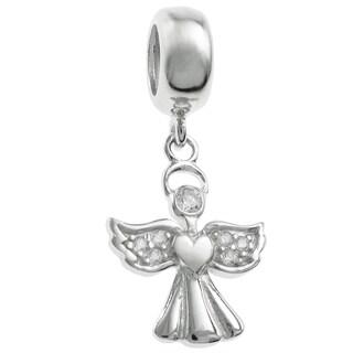 Queenbery Sterling Silver Clear Cubic Zirconia Angel Dangle European Bead Charm
