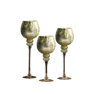 Bentley Gold Glass Candle Holders (Pack of 3)