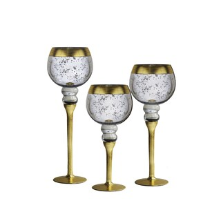 Crystal Clear Bentley Gold Rim Silver Candle Holders (Pack of 3)