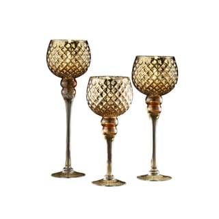 Crystal Clear Gold-tone Glass Candle Holders (Set of 3)