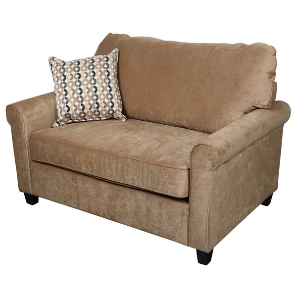 Porter Lily Tan Twin Sleeper Sofa With Woven Accent Pillow