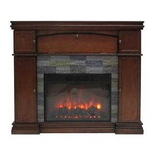 Stonegate Westport Brown Veneer Wood and Glass Electric Fireplace