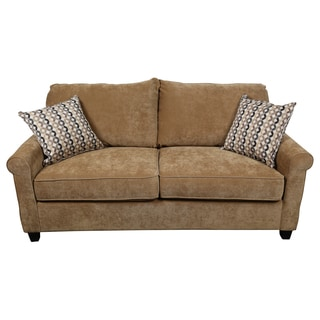 Porter Lily Tan Queen Sleeper Sofa with Woven Accent Pillows