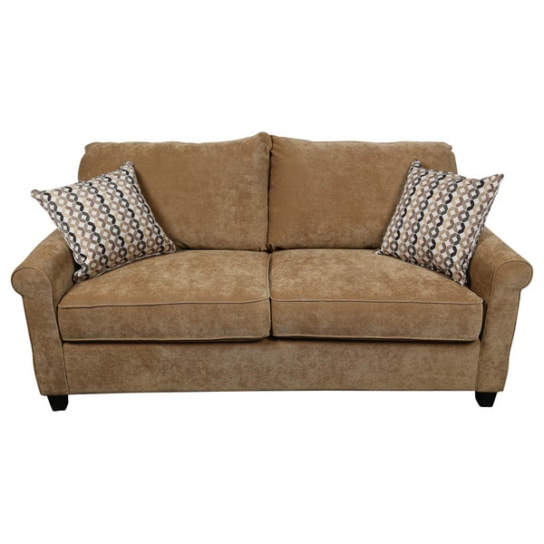shop porter lily tan queen sleeper sofa with woven accent pillows rh overstock com