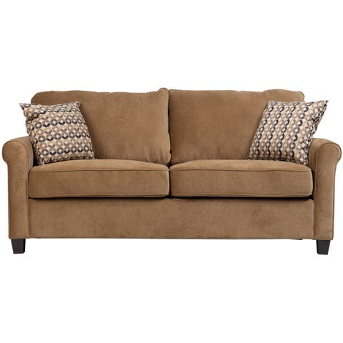"""Porter Lily Tan Full Sleeper Sofa with Woven Accent Pillows - 38""""H x 35""""D x 73""""W"""