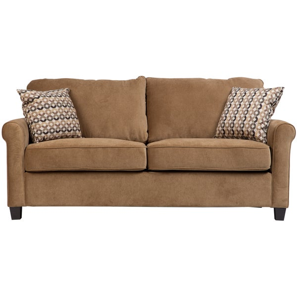 Shop Porter Lily Tan Full Sleeper Sofa With Woven Accent