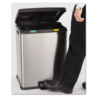 Safco Right-Size Recycling Station Rectangular Steel/Plastic 15gal Stainless/Blk