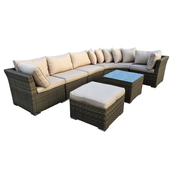 Kalapana Outdoor Resin Wicker Deep Seat Sectional Sofa Set