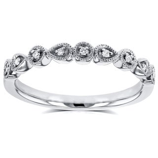 Annello by Kobelli 10k White Gold Diamond Accented Milgrain Ring