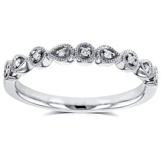 Annello by Kobelli 10k White Gold Diamond Accented Milgrain Ring (GH, I1-I2)