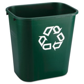 Rubbermaid Commercial Deskside Paper Recycling Container Rectangular Plastic 7 gal Green