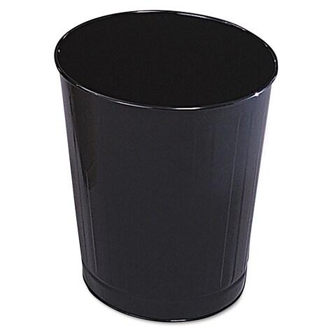 Rubbermaid Commercial Fire-Safe Wastebasket Round Steel 6 1/2 gal Black 6/Carton