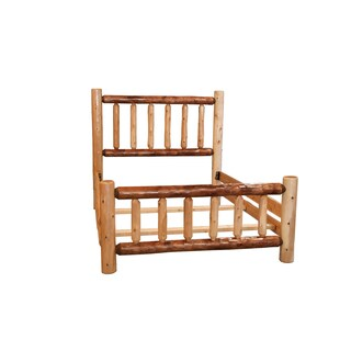 Rustic Two-Toned White Cedar Log Mission Style Bed with Double Side Rail- Amish Made