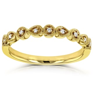 Annello by Kobelli 10k Yellow Gold Diamond Accented Milgrain Ring (GH, I1-I2)