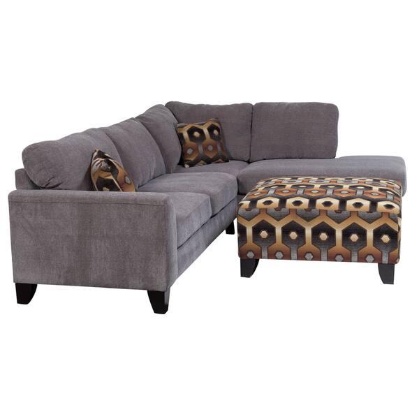 Enjoyable Shop Porter Monza Grey Chenille Sectional Sofa With Optional Machost Co Dining Chair Design Ideas Machostcouk