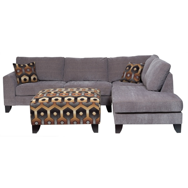 Porter Monza Grey Chenille Sectional Sofa With Optional