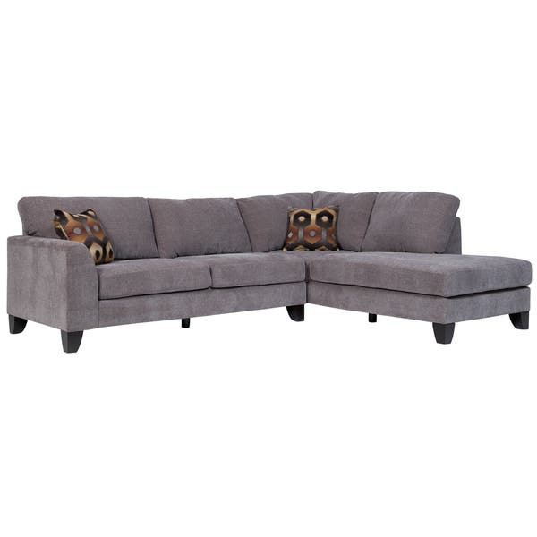 Outstanding Shop Porter Monza Grey Chenille Sectional Sofa With Optional Machost Co Dining Chair Design Ideas Machostcouk