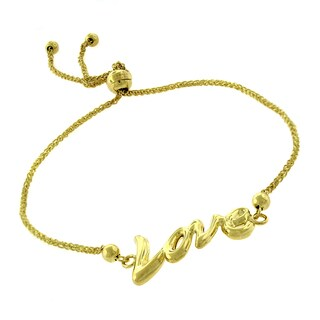 14k Yellow Gold 'Love' Charm Adjustable Slider Bracelet