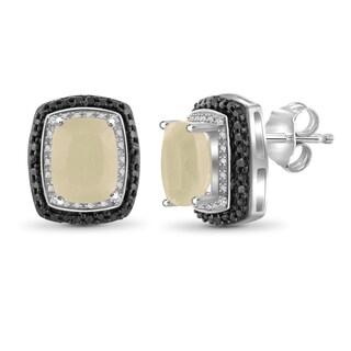 Jewelonfire Sterling Silver 6.10ct TGW Moonstone and 1/20ct TDW Diamond Halo Stud Earrings