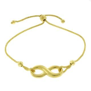 14K Yellow Gold Infinity Charm Adj. Slider Bracelet