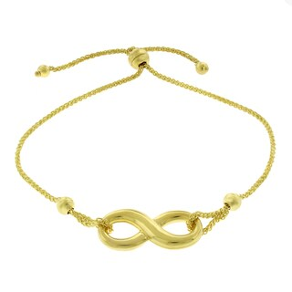 14K Yellow Gold Womens Fancy Infinity Charm Adjustable Slider Bracelet