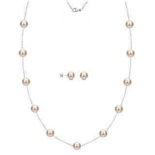 DaVonna Sterling Silver 8-9mm Pink Freshwater Pearl Tin-cup Station Necklace and Stud Earrings Set