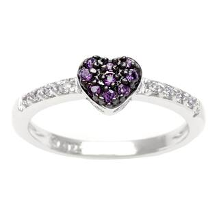 Sterling Essentials Silver Purple CZ Heart Ring https://ak1.ostkcdn.com/images/products/14037111/P20654539.jpg?impolicy=medium
