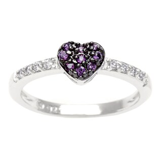 Sterling Silver Purple CZ Heart Ring
