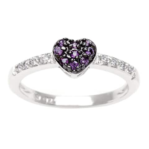 Roberto Martinez Silver Purple CZ Heart Ring