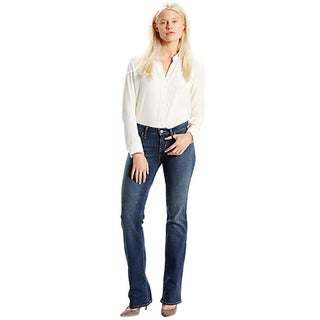 Levi's Juniors' 528 Blue Cotton Curvy-cut Skinny Jeans