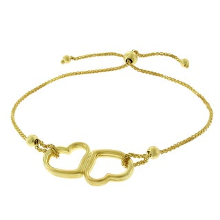 14K Yellow Gold Womens Fancy Double Heart Charm Adjustable Slider Bracelet Chain