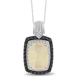 Jewelonfire Sterling Silver 6.10ct TGW Moonstone and Diamond Accents Pendant Necklace